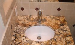Brown tan granite bathroom